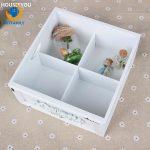 White Storage Boxes & Bins Makeup Organizer Wooden Box Zakka Vintage Handmade Carved Flower Decorative Home Storage <b>Supplies</b>