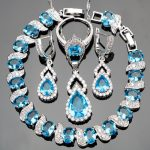 Blue Stones Silver 925 <b>Jewelry</b> Sets Women <b>Wedding</b> Jewelery With White Zircon Bracelets/Pendant/Earrings/Rings Set Free Gift Box