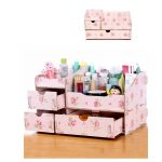 High quality <b>Fashion</b> Beautiful Household Woodiness Desktop Storage box DIY Assembly Cosmetics Stationery Organizers Three layers