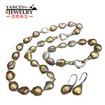 YANCEY 2018 New natural Baroque shaped bright light freshwater pearls, necklaces, bracelets, <b>earrings</b> Jewelry Sets