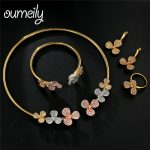 OUMEILY Colorful Flower Choker Necklace Set Rose Gold <b>Silver</b> Color African Beads Austrian Crystal Jewelry Set Fashion Women