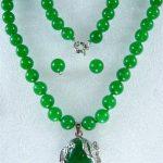 Prett Lovely Women's Wedding 10MM noblest green gem necklace +18KGP pendant earring set 18″AAA 5.23 silver-<b>jewelry</b> Natural