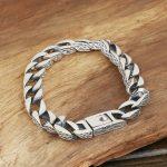 S925 pure silver <b>jewelry</b> male fashion <b>handmade</b> personalized vintage thai silver buckle bracelet