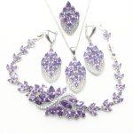 Trendy Water Drop Purple Cubic Zirconia White CZ 925 Sterling <b>Silver</b> Jewelry Sets For Women Earrings/Pendant/Necklace/<b>Bracelet</b>