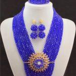 Exclusive Royal Blue African Beads <b>Jewelry</b> Set <b>Handmade</b> 8 Rows Wedding <b>Jewelry</b> Set Christmas <b>Jewelry</b> Gift Free Shipping