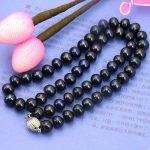8-9mm Black freshwater pearl necklace 18 inch DIY women hot sale <b>jewelry</b> <b>making</b>
