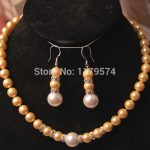 hot new Fashion 8-12MM Yellow/White Sea Shell Pearl Necklace +Earrings <b>Jewelry</b> Sets DIY Fashion <b>Jewelry</b> <b>Making</b> Design AAA hp016