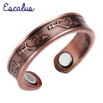 Escalus Ladies <b>Antique</b> Copper Love Heart Arrow Magnetic Ring Resizable Female Magnets Women <b>Jewelry</b> Charm Finger Wear