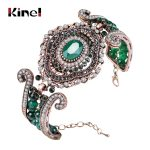 Kinel Luxury Vintage Big Bracelet Green Natural Stone Crystal Beads Bangle For Women <b>Fashion</b> Antique Gold Turkey <b>Jewelry</b> Gift