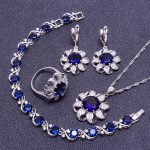 Blue Stones White Cubic Zirconia Sterling Silver <b>Jewelry</b> Sets For Women Surrounded Bracelets/Necklace/Pendant/Earrings/Rings