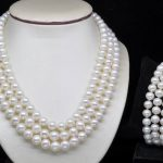 Prett Lovely Women's Wedding charm Jew.656 Natural Triple Strand AA 7-8mm White pearl Set necklaces&bracelets
