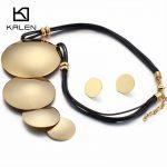 Kalen Big Round Pendant Necklace & Earrings <b>Jewelry</b> Set Women <b>Fashion</b> Stainless Steel Gold Pendant Leather Choker Necklace Set
