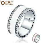 BAMOER Genuine 925 Sterling Silver Radiant Hearts & White Enamel Clear CZ Finger Ring for Women Wedding <b>Jewelry</b> Gift PA7623
