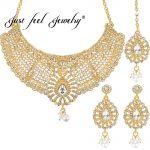 JUST FEEL Indian Gold Color <b>Jewelry</b> Sets Charm Crystal Imitation Pearls Water Drop <b>Necklace</b> Earrings Headdress Wedding For Women