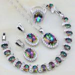 Rainbow Mystic Fire White Crystal 925 Sterling <b>Silver</b> Jewelry Sets For Women Wedding Necklace/Earrings/<b>Bracelet</b>/Pendant/Ring