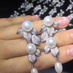 long earring natural fresh water pearl drop earring 925 <b>sterling</b> <b>silver</b> with cubic zircon leaf earring fashion women <b>jewelry</b>