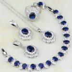 Egg Shaped Blue Cubic Zirconia White Zircon 925 Sterling <b>Silver</b> Jewelry Sets For Women <b>Bracelets</b>/Necklace/Pendant/Earrings/Ring