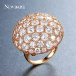 NEWBARK Full Clear Zircon Finger Ring Big Round Brilliant Engagement <b>Wedding</b> Symbolic Princess Queen Ring Party Prom <b>Jewelry</b>