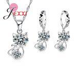 JEXXI 925 Sterling Silver Cubic Zirconia <b>Wedding</b> <b>Jewelry</b> Sets AAA CZ Crystal Cute Animal Cat Necklace Earrings Women Collar