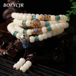 BOEYCJR White Bodhi 108 Beads Bangles & Bracelets <b>Handmade</b> <b>Jewelry</b> Vintage Elasticity Enamel Beads Bracelet for Women or Men