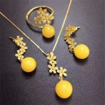 wholesale fashion flower shape natural yellow amber gemstone ring pendant necklace <b>earrings</b> 925 sterling <b>silver</b> jewelry set