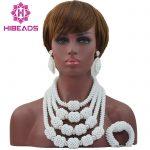 New Trendy Handmade <b>Silver</b> Mix White Nigerian African Wedding Crystal Beads Jewelry Set Bridal Jewelry Sets Free Shipping ANJ131