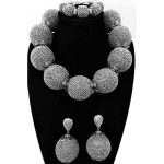 Sparkling Dubai Jewelry Sets <b>Silver</b> Big Balls African Bridal Beads Sets For Women Choker Necklace Jewellery Set Indian 2018 Hot