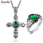 Szjinao Handmade Wedding <b>Jewelry</b> Sets Cross Emerald Strerling <b>Silver</b> Ring /Pendant Sets for Women <b>Silver</b> <b>Jewelry</b> Sets
