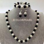 Big 60cm White Potato Round Freshwater Pearl And Black Stone Neckace,Bracelet 21cm Jewelry Set With <b>Earrings</b>.