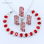 L&B Red created Garnet White Zircon <b>Silver</b> 925 Jewelry Sets For Women Wedding <b>Bracelets</b> Pendant Necklace Ring
