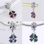 4 Colors 925 Sterling Silver four Leaf Clover Shape Pendant Fit Bracelet Charm DIY Enamel Bead <b>Making</b> Pingente Berloque
