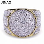 JINAO Hip Hop Rock Iced Out Bling <b>Jewelry</b> Ring Gold Color Micro Pave Cubic Zircon Rings 7,8,9,10,11 Five Sizes For Male Gifts