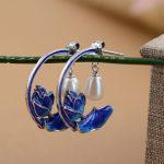 925 Silver Earring Shao Lan S925 Sterling Silver boucle d'oreille Tassel Pearl Flower Drop Earrings for Women <b>Jewelry</b> <b>Making</b>