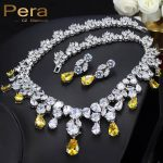 Pera Luxury <b>Wedding</b> Silver Color <b>Jewelry</b> Yellow Cubic Zirconia Big Pear Drop Women Statement Necklace And Earrings Sets J010