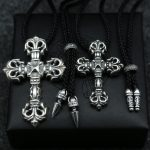 Japan And South Korea Trend <b>Silver</b> Cool Sterling <b>Silver</b> Cross Pendant <b>Necklace</b> Male Simple Black Rope Pendant