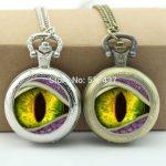 WholesaleEyeball Pocket Watch Dragon Eye <b>Jewelry</b> Glass Cabochon Locket Necklace <b>Antique</b> Pocket Watch Necklace