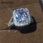 choucong <b>Handmade</b> <b>Jewelry</b> cushion cut 10ct Diamonique Cz stone 14KT White Gold Filled Women Wedding Ring Engagement Band Sz 5-11