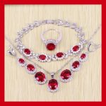 Reginababy Red simulated Garnet White Zircon <b>Bracelets</b> Jewelry Sets For Women <b>Silver</b> color Earrings/Ring/Necklace