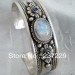 Wholesale price FREE SHIPPING ^^^^Fancy!!! Tibet Silver rare Moonstone <b>Jewelry</b> Bracelet