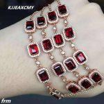 KJJEAXCMY Fine jewelry 925 Sterling <b>Silver</b> Natural Garnet <b>Bracelet</b>