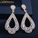 CWWZircons Full Micro Paved CZ Crystal Gold Color Large Long Circle Hoop Earrings For Women <b>Wedding</b> Dancing Party <b>Jewelry</b> CZ147
