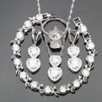 Heart Handmade Jewelry Sets For Women White CZ Sterling <b>Silver</b> 925 Ring Size 6/7/8/9/10 <b>Bracelet</b> Length 18+2 CM Free Gift Box