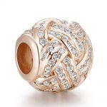 Pandulaso Woman DIY <b>Jewelry</b> Sparkling Love Knot Charm Rose Gold Beads For <b>Jewelry</b> <b>Making</b> Fit 925 Sterling Silver Bracelets