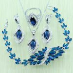 Reginababy Blue Rhinestone White Zircon <b>Silver</b> color Jewelry Set For Women 925 Logo <b>Bracelet</b>/Necklace/Earrings/Ring/Pendent
