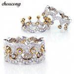 choucong Crown <b>Jewelry</b> Women 925 <b>sterling</b> <b>Silver</b> ring Diamonique 5A Zircon Cz Engagement Wedding Band Rings For Women love Gift