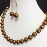 Bohemia coffee shell 10mm charming simulated-pearl round beads diy classical necklace earrings diy <b>jewelry</b> <b>making</b> 24 inch BV323