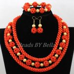 <b>Handmade</b> Orange Coral Beads Bridal <b>Jewelry</b> Sets Nigerian Beaded Necklaces Sets African Wedding <b>Jewelry</b> Set Free Shipping ABK062