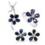 Natural blue sapphire stone wedding jewelry sets natural gemstone ring <b>earrings</b> necklace S925 <b>silver</b> Fashion elegant Flowers