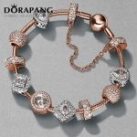 DORAPANG 2017 NEWEST 100% 925 Sterling <b>Silver</b> Rose gold <b>bracelet</b> suits Clear CZ Charm Bead fit <b>Bracelet</b> DIY For Women Jewelry