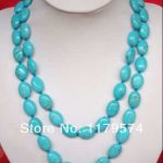 wholesale and retail New product Beautiful 13X18MM blue Turkey Stone Necklace Hand Made Fashion <b>Jewelry</b> <b>Making</b> Design 50″ WJ347